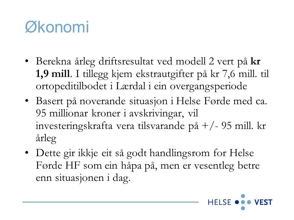 Økonomi Berekna årleg driftsresultat ved modell 2 vert på kr 1,9 mill.