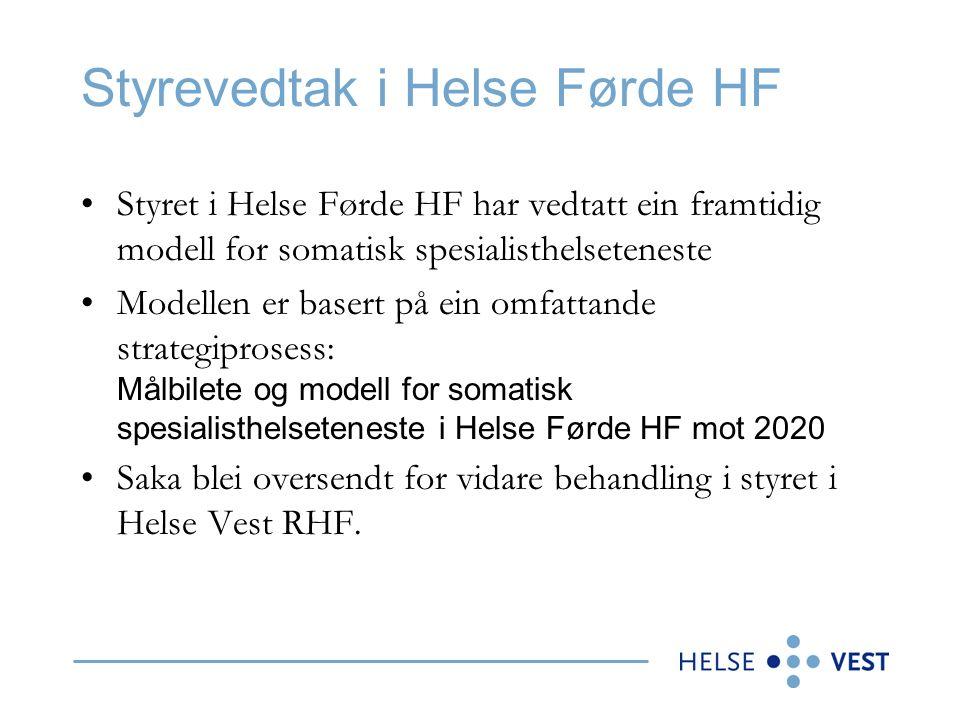 Handlingsrom Helse Vest RHF legg til grunn at modell 1 vedtatt av styret i Helse Førde ikkje er mogleg å gjennomføre i dag etter dei styringssignala som er mottatt gjennom oppdragsdokument og brev