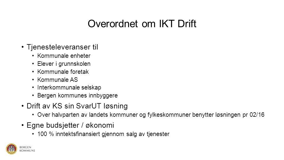 Overordnet om IKT Drift Tjenesteleveranser til Kommunale enheter Elever i grunnskolen Kommunale foretak Kommunale AS Interkommunale selskap Bergen kom