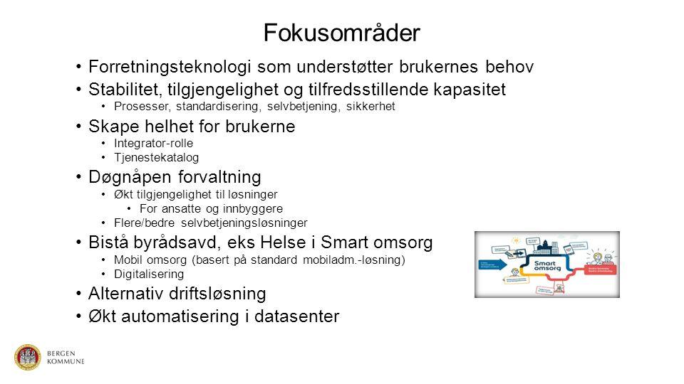 Drift av arbeidsstasjon Bærbare PCer Stasjonære PCer Standard tjenester BK Fjerntilgang Trådløst nettverk Drift av mobile enheter Smarttelefoner Nettbrett Drift av Fagsystem Nivå 1 – Nivå 2 – Nivå 3 BASISDRIFT SERVERDRIFT NETTVERKSDRIFT SIKKERHET BRUKERSTØTTE TJENESTEORIENTERING (Tjenestekatalog)