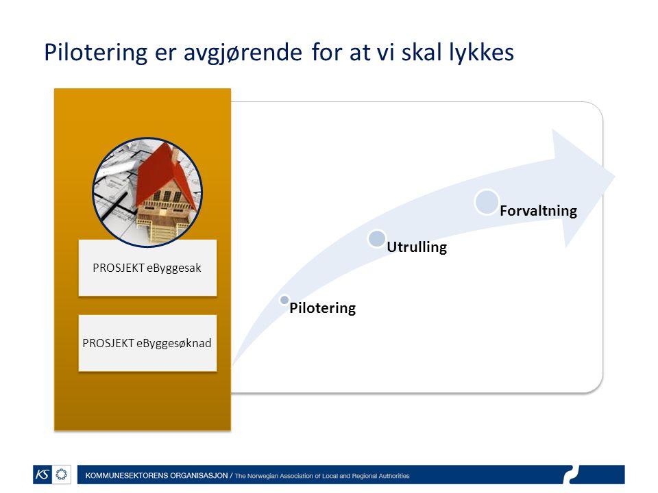 PROSJEKT eByggesak Pilotering Utrulling Forvaltning Pilotering er avgjørende for at vi skal lykkes PROSJEKT eByggesøknad