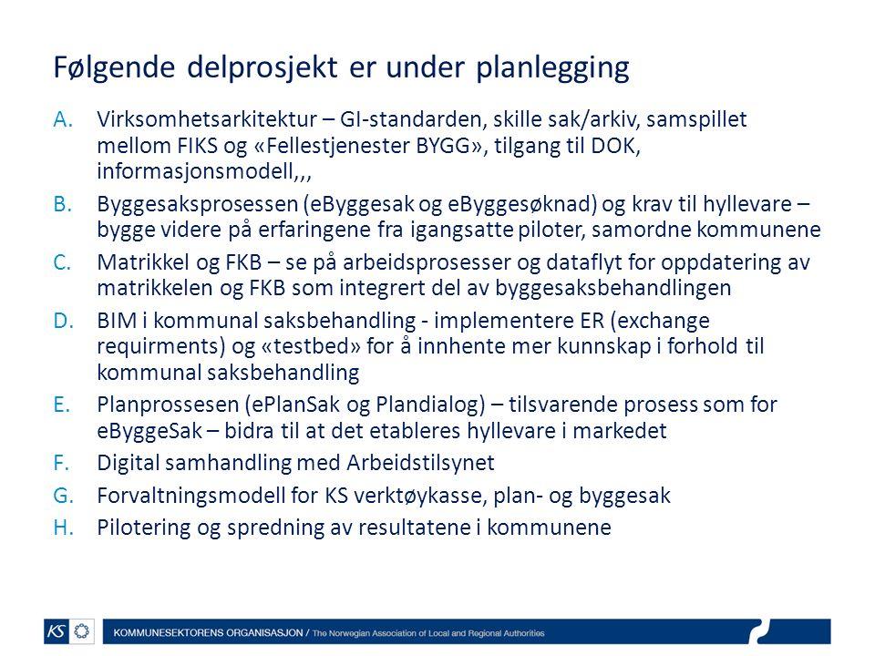 Følgende delprosjekt er under planlegging A.Virksomhetsarkitektur – GI-standarden, skille sak/arkiv, samspillet mellom FIKS og «Fellestjenester BYGG», tilgang til DOK, informasjonsmodell,,, B.Byggesaksprosessen (eByggesak og eByggesøknad) og krav til hyllevare – bygge videre på erfaringene fra igangsatte piloter, samordne kommunene C.Matrikkel og FKB – se på arbeidsprosesser og dataflyt for oppdatering av matrikkelen og FKB som integrert del av byggesaksbehandlingen D.BIM i kommunal saksbehandling - implementere ER (exchange requirments) og «testbed» for å innhente mer kunnskap i forhold til kommunal saksbehandling E.Planprossesen (ePlanSak og Plandialog) – tilsvarende prosess som for eByggeSak – bidra til at det etableres hyllevare i markedet F.Digital samhandling med Arbeidstilsynet G.Forvaltningsmodell for KS verktøykasse, plan- og byggesak H.Pilotering og spredning av resultatene i kommunene