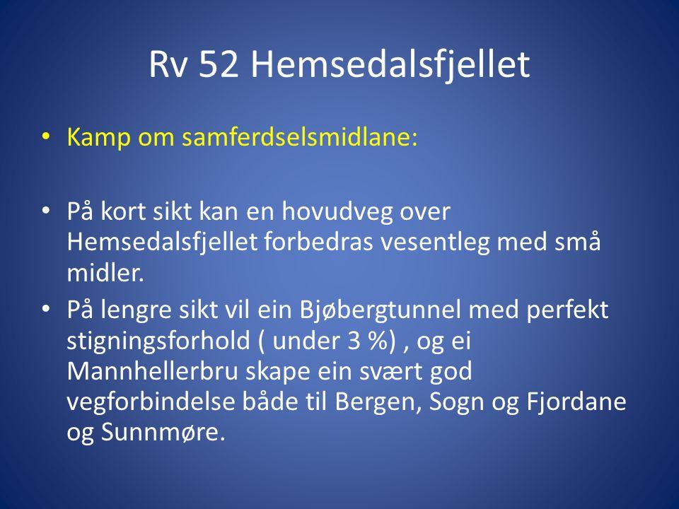 Rv 52 Hemsedalsfjellet Kamp om samferdselsmidlane: På kort sikt kan en hovudveg over Hemsedalsfjellet forbedras vesentleg med små midler.