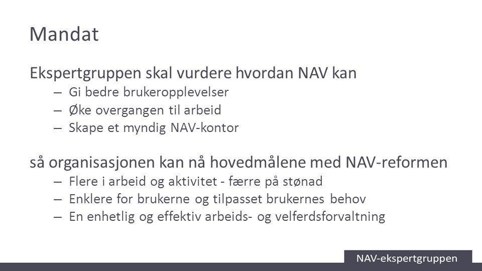 Mandat Ekspertgruppen skal vurdere hvordan NAV kan – Gi bedre brukeropplevelser – Øke overgangen til arbeid – Skape et myndig NAV-kontor så organisasj