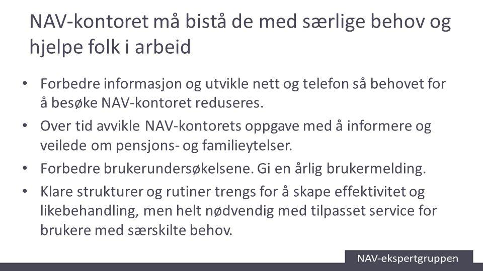 NAV-kontoret må bistå de med særlige behov og hjelpe folk i arbeid Forbedre informasjon og utvikle nett og telefon så behovet for å besøke NAV-kontore