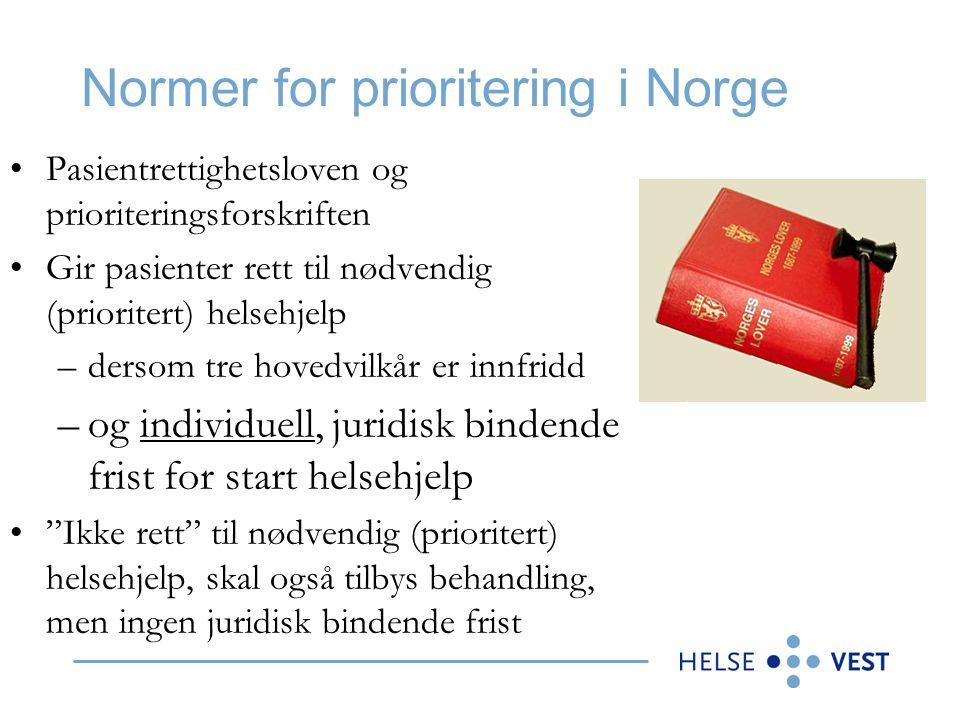 Normer for prioritering i Norge Pasientrettighetsloven og prioriteringsforskriften Gir pasienter rett til nødvendig (prioritert) helsehjelp –dersom tre hovedvilkår er innfridd –og individuell, juridisk bindende frist for start helsehjelp Ikke rett til nødvendig (prioritert) helsehjelp, skal også tilbys behandling, men ingen juridisk bindende frist