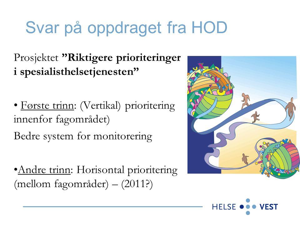 Svar på oppdraget fra HOD Prosjektet Riktigere prioriteringer i spesialisthelsetjenesten Første trinn: (Vertikal) prioritering innenfor fagområdet) Bedre system for monitorering Andre trinn: Horisontal prioritering (mellom fagområder) – (2011 )