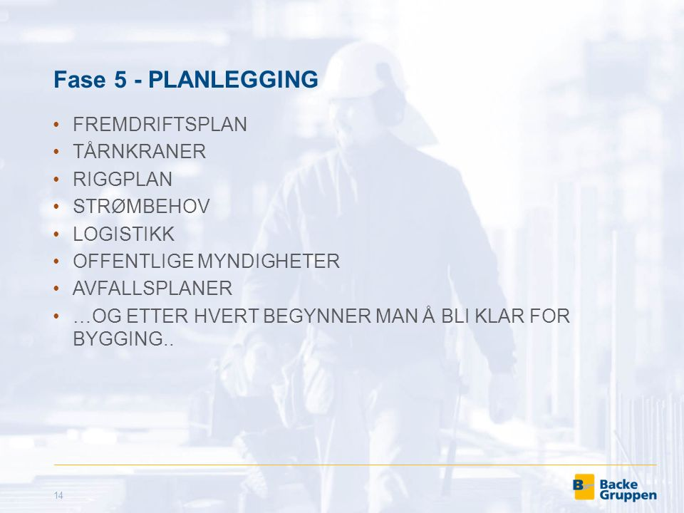 Fase 5 - PLANLEGGING FREMDRIFTSPLAN TÅRNKRANER RIGGPLAN STRØMBEHOV LOGISTIKK OFFENTLIGE MYNDIGHETER AVFALLSPLANER …OG ETTER HVERT BEGYNNER MAN Å BLI KLAR FOR BYGGING..