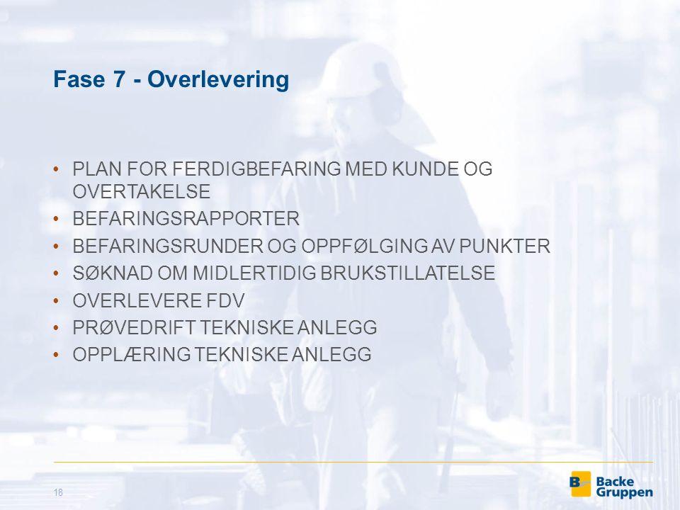 Fase 7 - Overlevering PLAN FOR FERDIGBEFARING MED KUNDE OG OVERTAKELSE BEFARINGSRAPPORTER BEFARINGSRUNDER OG OPPFØLGING AV PUNKTER SØKNAD OM MIDLERTIDIG BRUKSTILLATELSE OVERLEVERE FDV PRØVEDRIFT TEKNISKE ANLEGG OPPLÆRING TEKNISKE ANLEGG 18