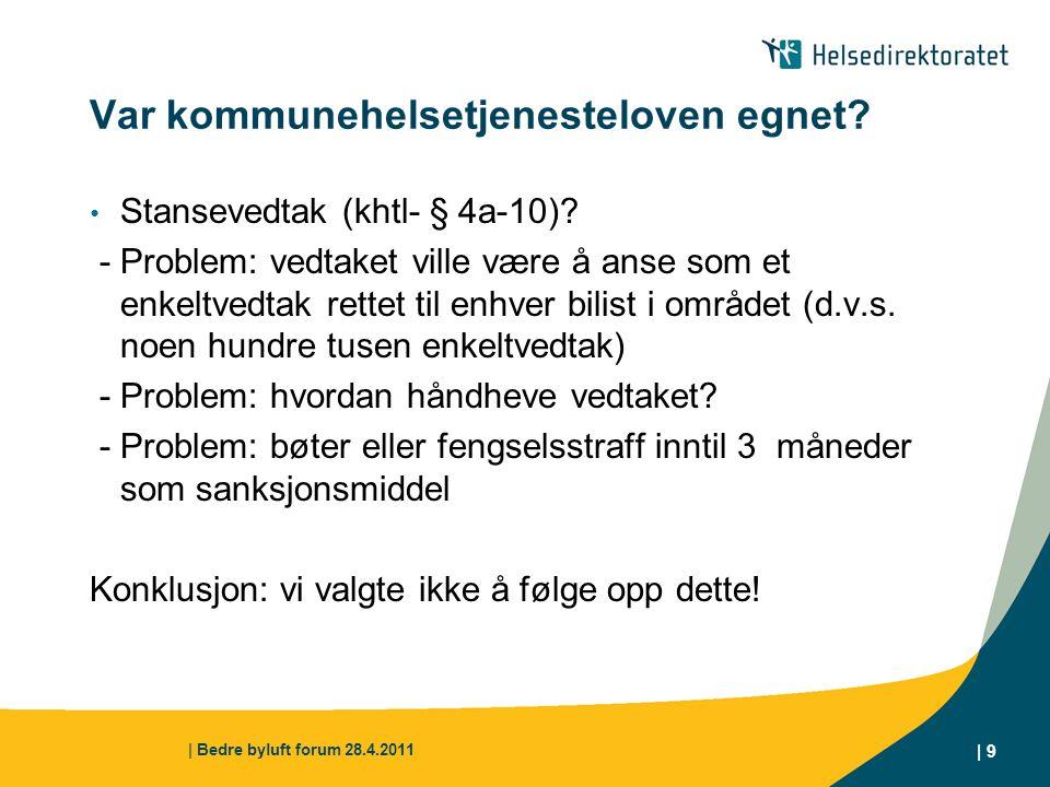 | Bedre byluft forum 28.4.2011 | 10 Kommunehelsetjenesteloven for øvrig.