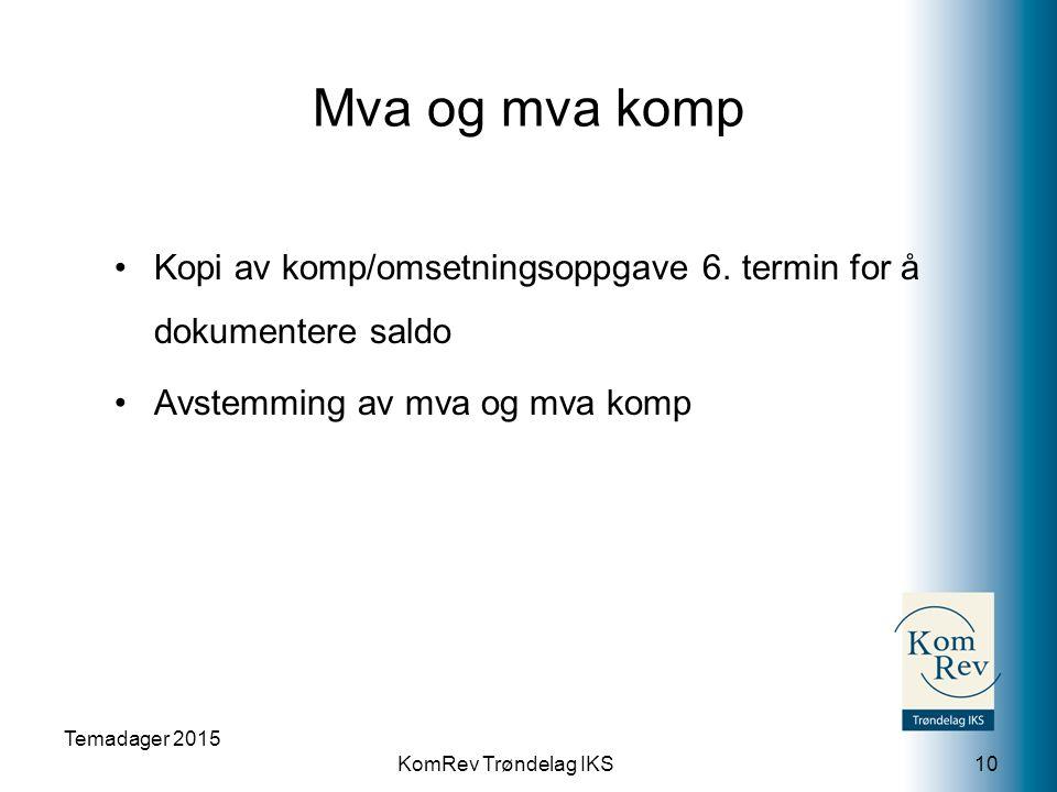 KomRev Trøndelag IKS Mva og mva komp Kopi av komp/omsetningsoppgave 6.