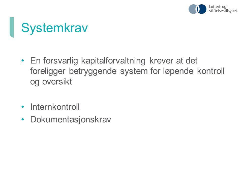 En forsvarlig kapitalforvaltning krever at det foreligger betryggende system for løpende kontroll og oversikt Internkontroll Dokumentasjonskrav Systemkrav