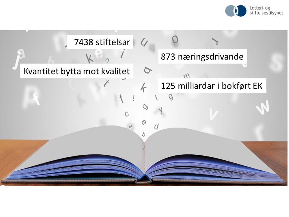 7438 stiftelsar 873 næringsdrivande Kvantitet bytta mot kvalitet 125 milliardar i bokført EK