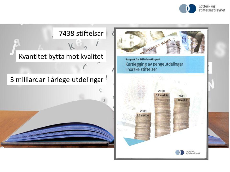 7438 stiftelsar 873 næringsdrivande Kvantitet bytta mot kvalitet 125 milliardar i bokført EK 3 milliardar i årlege utdelingar