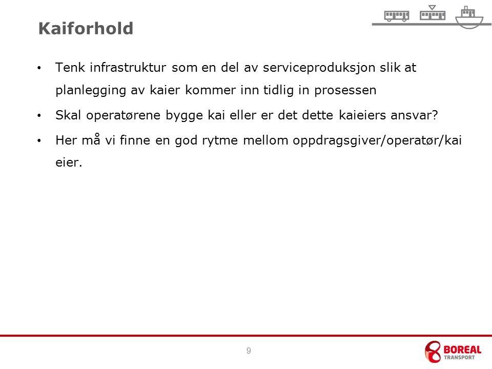 9 Kaiforhold Tenk infrastruktur som en del av serviceproduksjon slik at planlegging av kaier kommer inn tidlig in prosessen Skal operatørene bygge kai