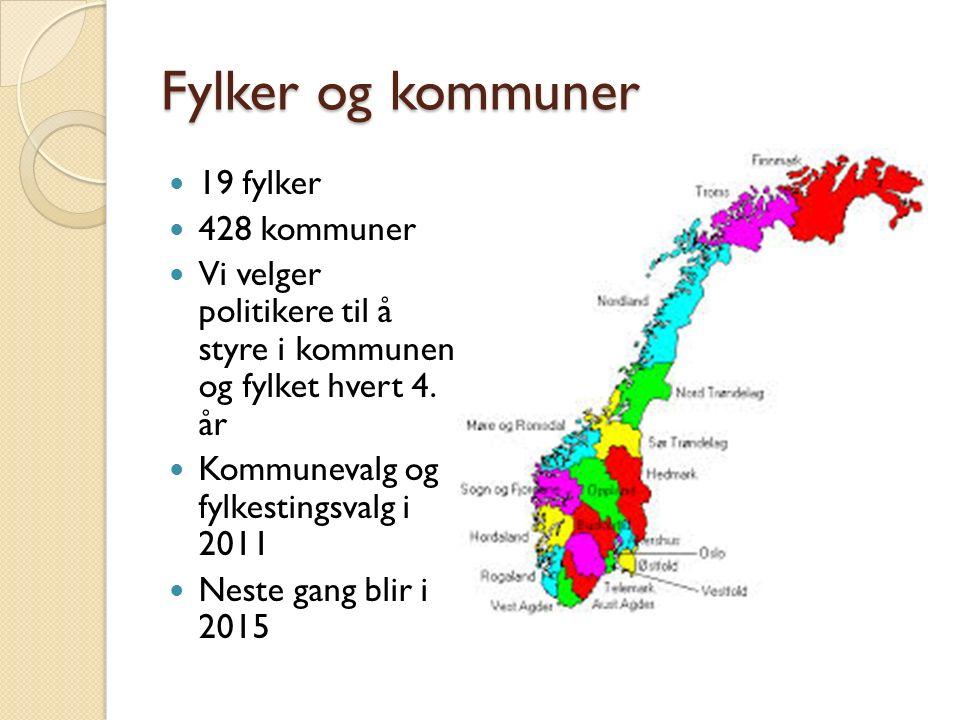 Fylker og kommuner 19 fylker 428 kommuner Vi velger politikere til å styre i kommunen og fylket hvert 4. år Kommunevalg og fylkestingsvalg i 2011 Nest