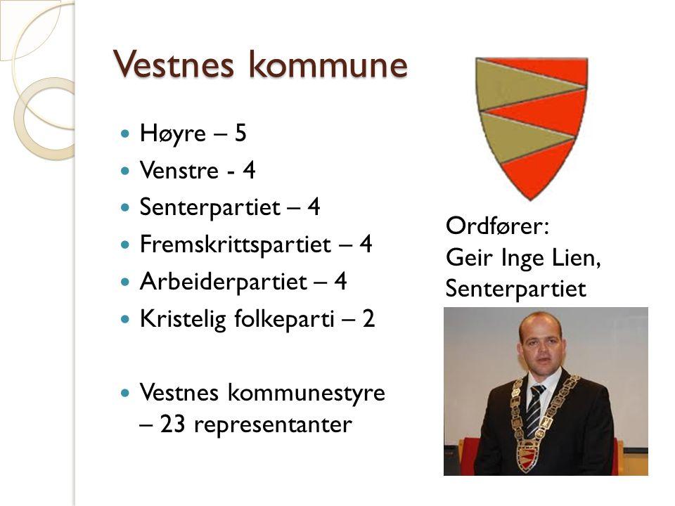 Vestnes kommune Høyre – 5 Venstre - 4 Senterpartiet – 4 Fremskrittspartiet – 4 Arbeiderpartiet – 4 Kristelig folkeparti – 2 Vestnes kommunestyre – 23