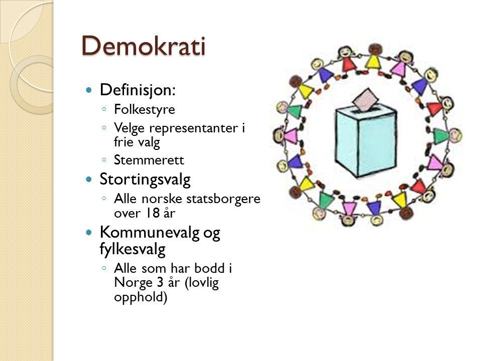Demokrati Definisjon: ◦ Folkestyre ◦ Velge representanter i frie valg ◦ Stemmerett Stortingsvalg ◦ Alle norske statsborgere over 18 år Kommunevalg og