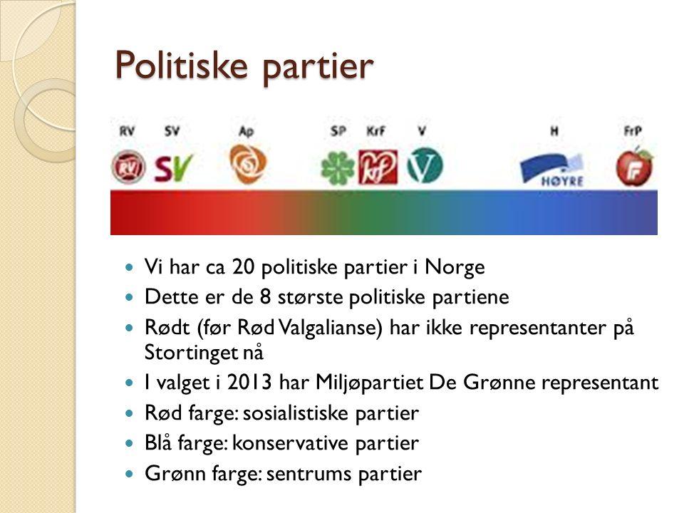 Politiske partier http://www.mdg.no/ Miljøpartiet De Grønne http://www.mdg.no/ http://www.sv.no/ Sosialistisk Venstreparti http://www.sv.no/ http://arbeiderpartiet.no/ Arbeidserpartiet http://arbeiderpartiet.no/ http://www.senterpartiet.no/ Senterpartiet http://www.senterpartiet.no/ http://www.krf.no/ikbViewer/page/krf/forside Kristelig Folkeparti http://www.krf.no/ikbViewer/page/krf/forside http://www.venstre.no/ Venstre http://www.venstre.no/ http://www.hoyre.no/ Høyre http://www.hoyre.no/ http://www.frp.no/ Fremskrittspartiet http://www.frp.no/