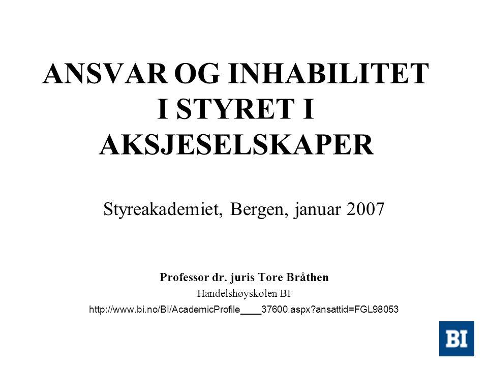 ANSVAR OG INHABILITET I STYRET I AKSJESELSKAPER Styreakademiet, Bergen, januar 2007 Professor dr. juris Tore Bråthen Handelshøyskolen BI http://www.bi