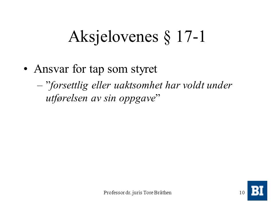 """Professor dr. juris Tore Bråthen10 Aksjelovenes § 17-1 Ansvar for tap som styret –""""forsettlig eller uaktsomhet har voldt under utførelsen av sin oppga"""