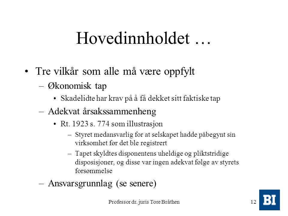 Professor dr. juris Tore Bråthen12 Hovedinnholdet … Tre vilkår som alle må være oppfylt –Økonomisk tap Skadelidte har krav på å få dekket sitt faktisk