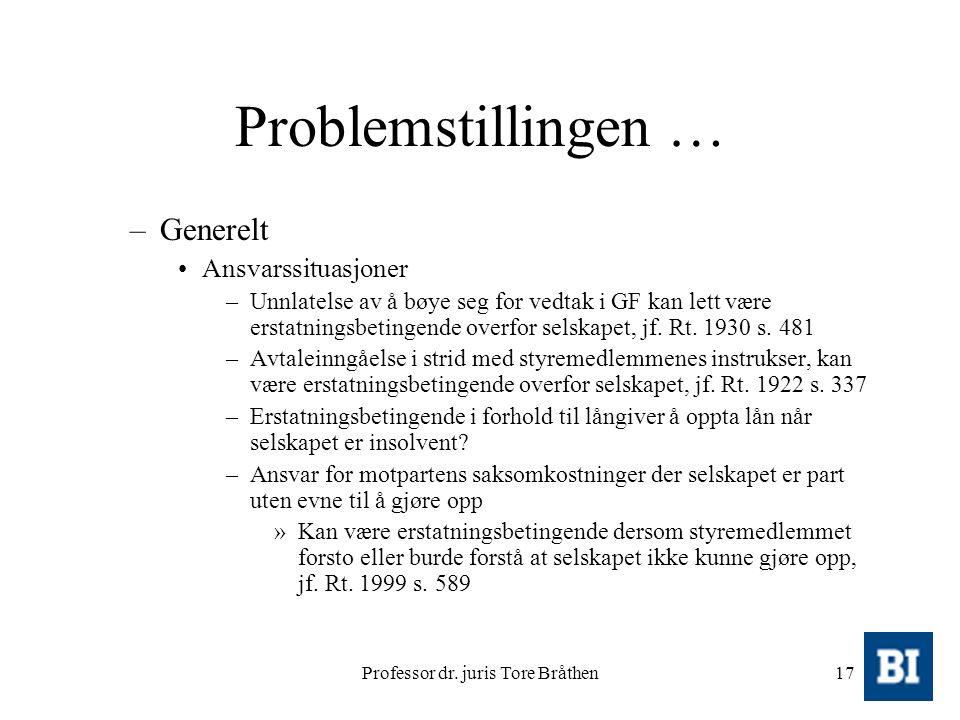 Professor dr. juris Tore Bråthen17 Problemstillingen … –Generelt Ansvarssituasjoner –Unnlatelse av å bøye seg for vedtak i GF kan lett være erstatning
