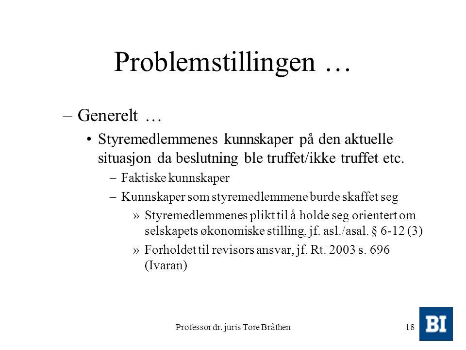 Professor dr. juris Tore Bråthen18 Problemstillingen … –Generelt … Styremedlemmenes kunnskaper på den aktuelle situasjon da beslutning ble truffet/ikk