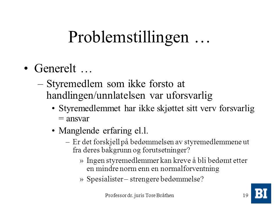 Professor dr. juris Tore Bråthen19 Problemstillingen … Generelt … –Styremedlem som ikke forsto at handlingen/unnlatelsen var uforsvarlig Styremedlemme