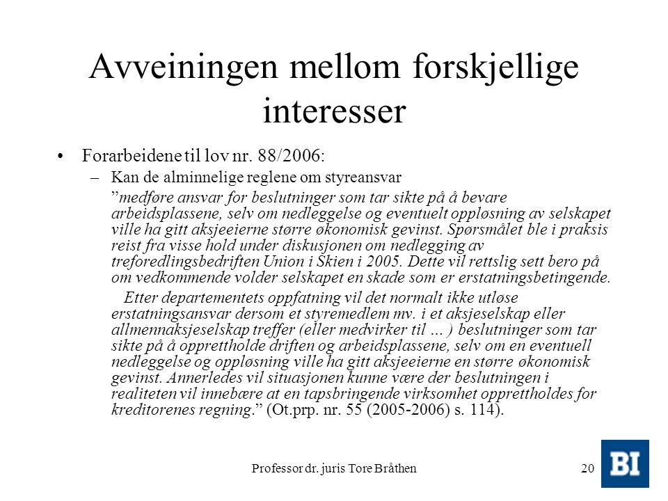 Professor dr. juris Tore Bråthen20 Avveiningen mellom forskjellige interesser Forarbeidene til lov nr. 88/2006: –Kan de alminnelige reglene om styrean