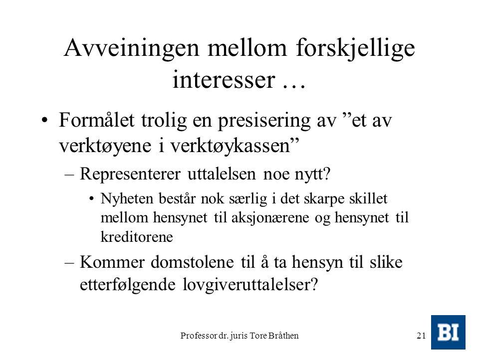 """Professor dr. juris Tore Bråthen21 Avveiningen mellom forskjellige interesser … Formålet trolig en presisering av """"et av verktøyene i verktøykassen"""" –"""