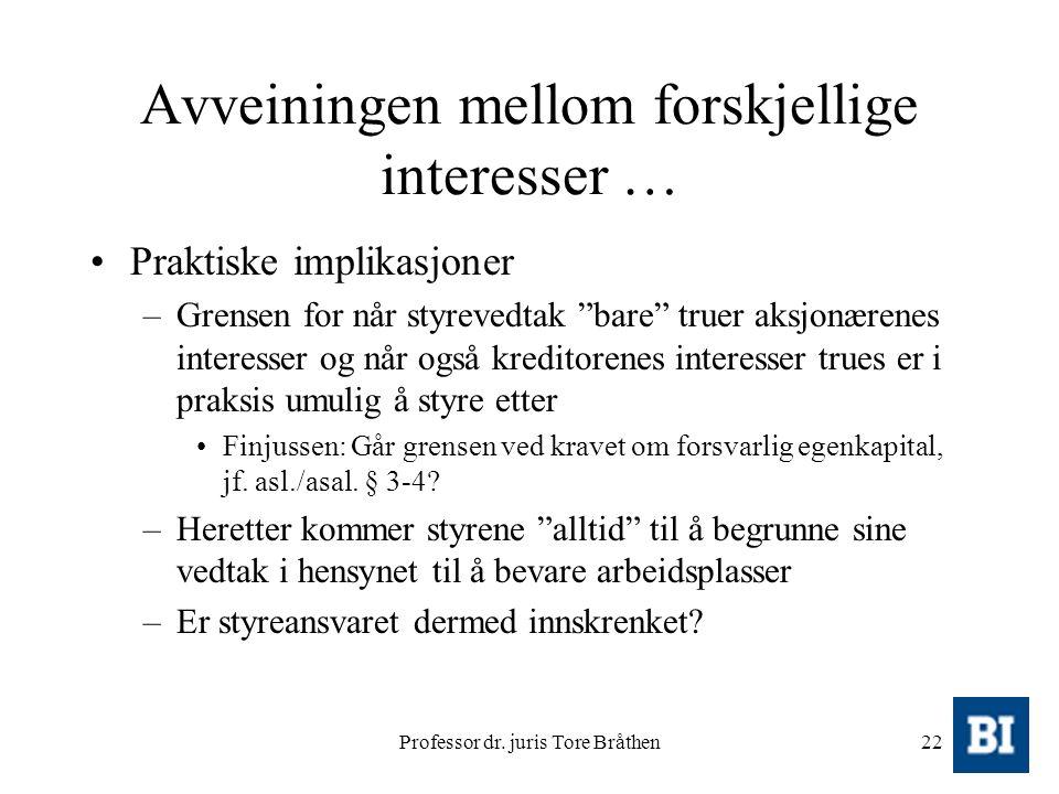 """Professor dr. juris Tore Bråthen22 Avveiningen mellom forskjellige interesser … Praktiske implikasjoner –Grensen for når styrevedtak """"bare"""" truer aksj"""