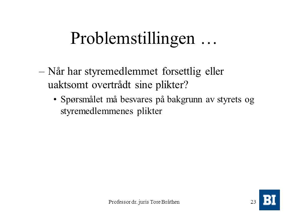 Professor dr. juris Tore Bråthen23 Problemstillingen … –Når har styremedlemmet forsettlig eller uaktsomt overtrådt sine plikter? Spørsmålet må besvare