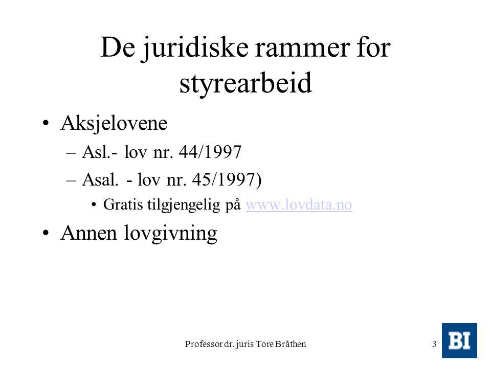 Professor dr. juris Tore Bråthen3 De juridiske rammer for styrearbeid Aksjelovene –Asl.- lov nr. 44/1997 –Asal. - lov nr. 45/1997) Gratis tilgjengelig