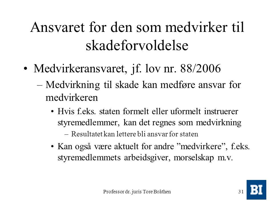 Professor dr. juris Tore Bråthen31 Ansvaret for den som medvirker til skadeforvoldelse Medvirkeransvaret, jf. lov nr. 88/2006 –Medvirkning til skade k