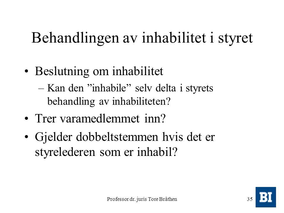 """Professor dr. juris Tore Bråthen35 Behandlingen av inhabilitet i styret Beslutning om inhabilitet –Kan den """"inhabile"""" selv delta i styrets behandling"""