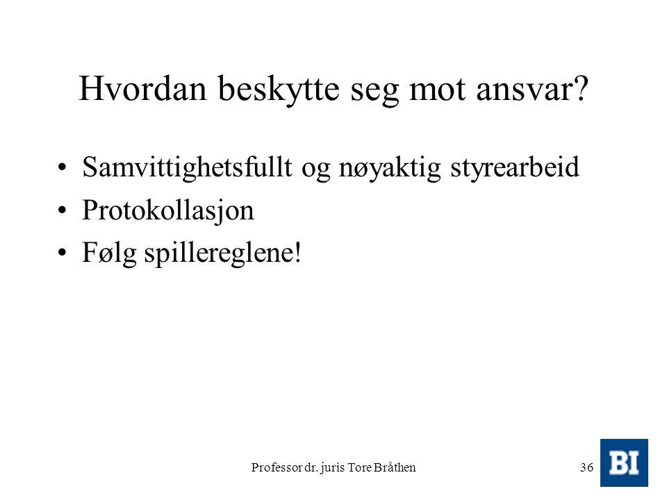 Professor dr. juris Tore Bråthen36 Hvordan beskytte seg mot ansvar? Samvittighetsfullt og nøyaktig styrearbeid Protokollasjon Følg spillereglene!