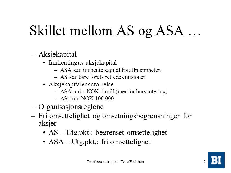 Professor dr. juris Tore Bråthen7 Skillet mellom AS og ASA … –Aksjekapital Innhenting av aksjekapital –ASA kan innhente kapital fra allmennheten –AS k