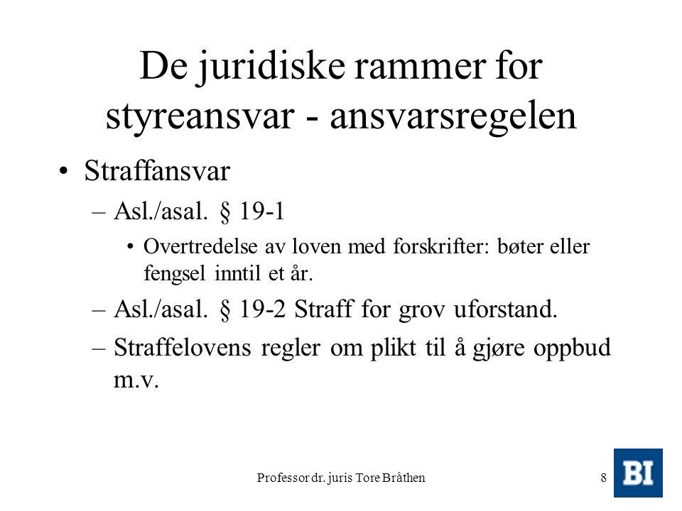 Professor dr. juris Tore Bråthen8 De juridiske rammer for styreansvar - ansvarsregelen Straffansvar –Asl./asal. § 19-1 Overtredelse av loven med forsk