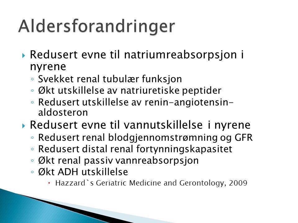  Redusert evne til natriumreabsorpsjon i nyrene ◦ Svekket renal tubulær funksjon ◦ Økt utskillelse av natriuretiske peptider ◦ Redusert utskillelse a