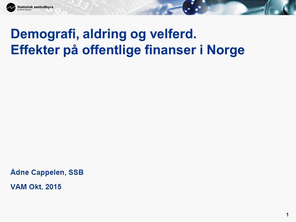 Demografi, aldring og velferd. Effekter på offentlige finanser i Norge Ådne Cappelen, SSB VAM Okt.