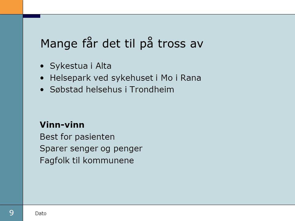 9 Dato Mange får det til på tross av Sykestua i Alta Helsepark ved sykehuset i Mo i Rana Søbstad helsehus i Trondheim Vinn-vinn Best for pasienten Spa