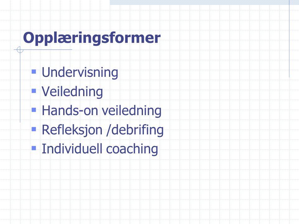 Opplæringsformer  Undervisning  Veiledning  Hands-on veiledning  Refleksjon /debrifing  Individuell coaching