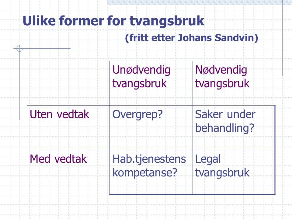 Ulike former for tvangsbruk (fritt etter Johans Sandvin) Unødvendig tvangsbruk Nødvendig tvangsbruk Uten vedtakOvergrep?Saker under behandling.