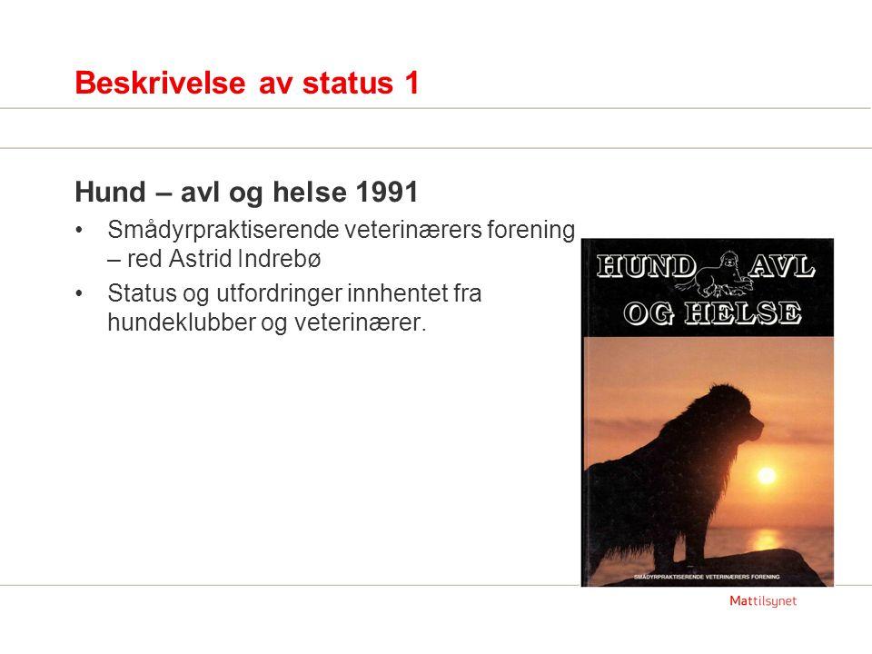 Beskrivelse av status 1 Hund – avl og helse 1991 Smådyrpraktiserende veterinærers forening – red Astrid Indrebø Status og utfordringer innhentet fra hundeklubber og veterinærer.