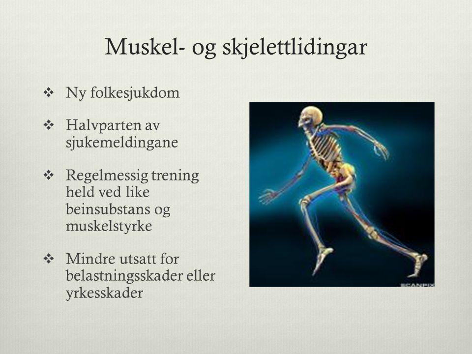 Muskel- og skjelettlidingar  Ny folkesjukdom  Halvparten av sjukemeldingane  Regelmessig trening held ved like beinsubstans og muskelstyrke  Mindre utsatt for belastningsskader eller yrkesskader