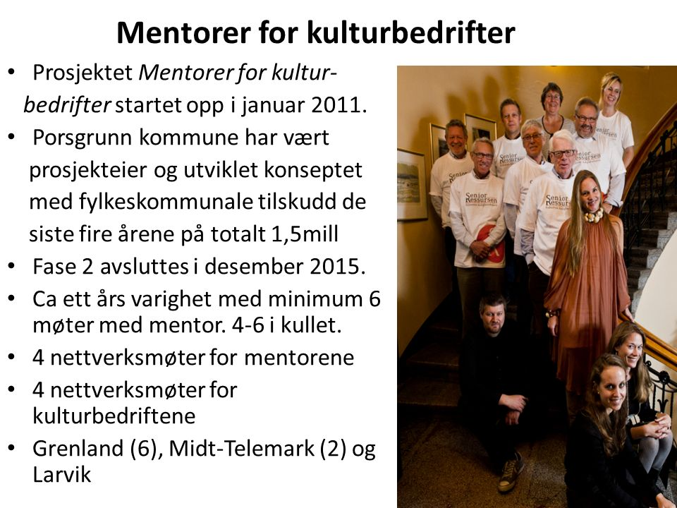 Mentorer for kulturbedrifter Prosjektet Mentorer for kultur- bedrifter startet opp i januar 2011.