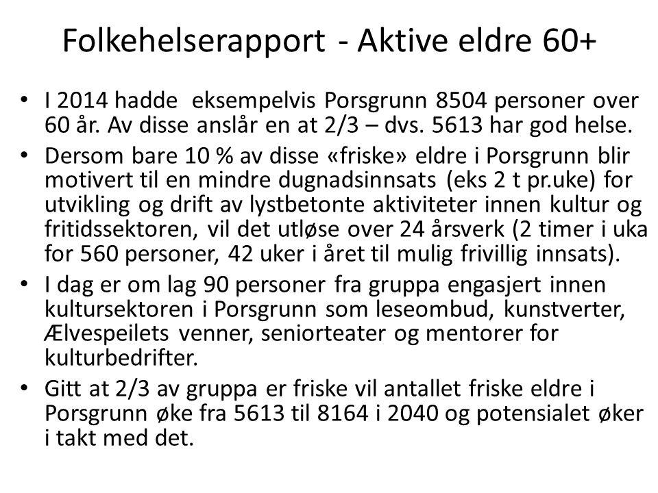 Seniorressursen i Porsgrunn Det er viktig å skape et nytt syn på den store eldrebølgen som kommer – ikke en tsunami av omsorgsbehov, men en seniorressurs utløst av livslyst i en kulturkontekst.