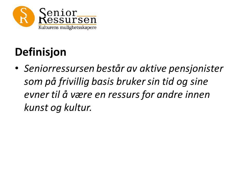 Definisjon Seniorressursen består av aktive pensjonister som på frivillig basis bruker sin tid og sine evner til å være en ressurs for andre innen kunst og kultur.