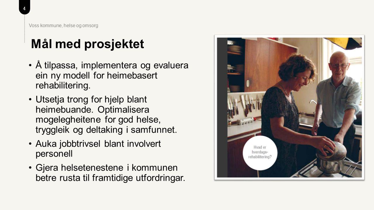 4 Voss kommune, helse og omsorg Å tilpassa, implementera og evaluera ein ny modell for heimebasert rehabilitering.
